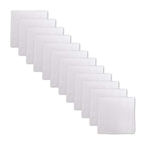 (Umo Lorenzo Men's 100% Cotton Premium Handkerchief No Iron - 12 Pack White)