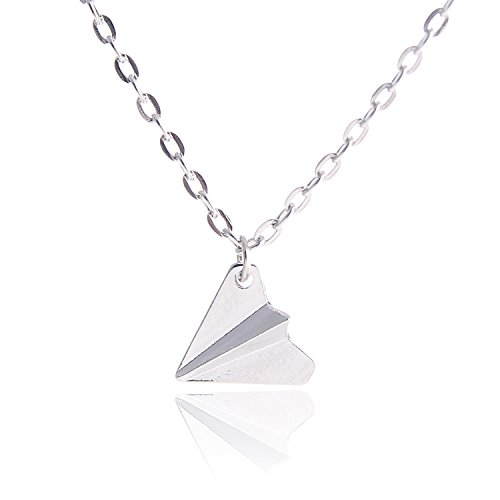 HUAN XUN White Harry Paper Airplane Pendant Necklace Origami Charm Necklace