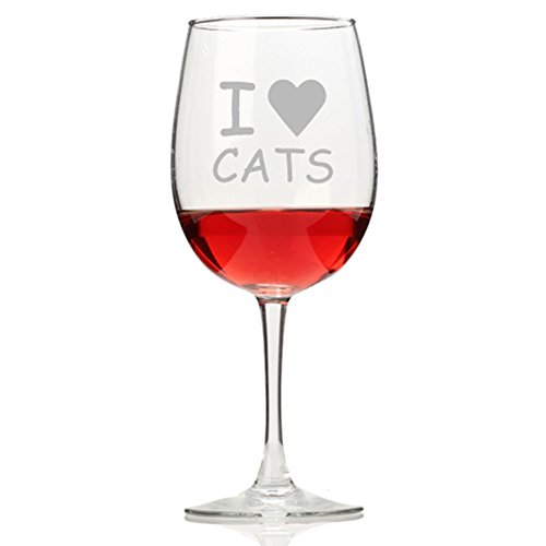 I Love Cats Wine Glass