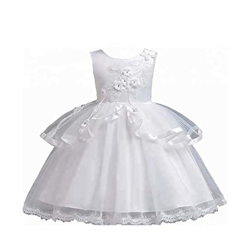 Bella Skirt Beaded (Dresses for Girls, Kids Sleeveless Beaded Round Neck Tulle Overlaid Big Bowtie Ruched Bubble Skirt A Line Knee Length Stunning Glitter Belle Ball Gown (Ivory,150))