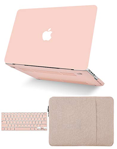 """KECC Laptop Case for Old MacBook Pro 13"""" Retina (2015-) w/Keyboard Cover + Sleeve Plastic Hard Shell Case A1502/A1425 3 in 1 Bundle (Pale Pink)"""