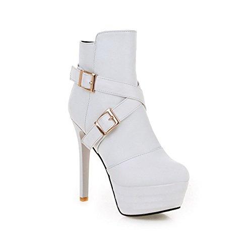 fibbia bianca con Baja tacco Solido Boots Caña largo Women Zippers Agoolar vZFRzW