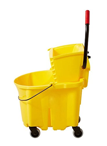 Boss Cleaning Equipment B005008 Down Press Mop Bucket, 35 Quart, Yellow, Removable Divider ()