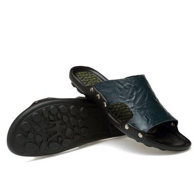 Xing Lin Sandalias De Hombre Prendas De Vestir Para Hombres Zapatillas De Playa En Verano, Sandalias De Cuero Deslizante Chanclas Flip Flop Sandalias De Los Hombres De Verano blue