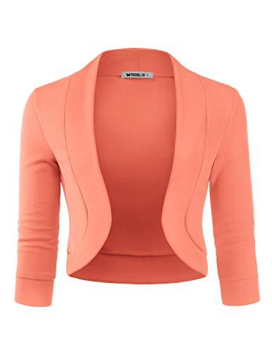 Doublju Womens 3/4 Sleeve Bolero Open Front Cardigan with Plus Size Peach X-Large