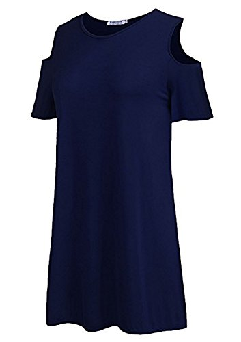 Off Blouse Size Tops Womens Sleeve 1457blue Durcoo Shoulder Short Lace Shirts Plus Tees H8CcqI