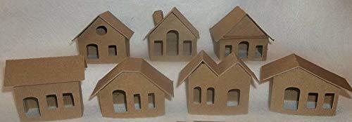 Mini Cardboard Putz Style Houses- Set of 7 DIY houses (Houses Glitter)