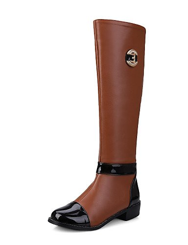 Botas botas La uk8 Punta A Xzz cn43 Mujer Patentado Tacón Brown uk8 5 Robusto us10 5 semicuero eu42 Redonda Vestido negro Cuero Cn35 5 eu42 zapatos us5 Uk3 Eu36 5 Brown De Oklop 5 Moda cn43 casual Brown 5 us10 7xnA8vn