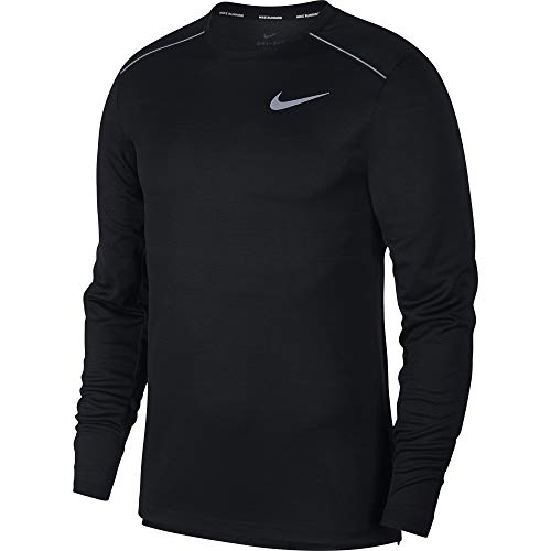 Nike Men's Dri Fit Miler Long Sleeve Running Top Black/Reflective Silver Size Large