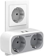TESSAN USB Stekkerdoos, Dubbele Stopcontacten, 2 Stekkerdoos met 2 USB Poorten, 4 in 1 Stekkeradapter met USB Stekker, Dubbele Stekker Adapter compatibel met Phone, voor Kantoor, Thuis, Reis