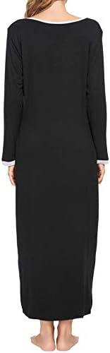 LOLLO VITA Women's Long Sleeve Nightgown Full Length Sleepwear Comfy Bamboo Pajamas Pleated Round Neck Maternity Sleepdress