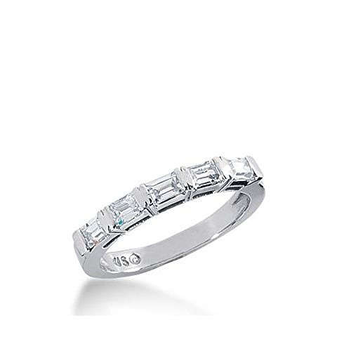 950 Platinum Diamond Anniversary Wedding Ring 5 Straight Baguette Diamonds 0.60ctw 263WR1124PLT - Size 10 (Diamond Straight Band Baguette)