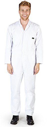 Natural Workwear - Mens Tall Long Sleeve Basic Blended Coverall, White 38883-SmallTall (Long Sleeve Footed Coverall)