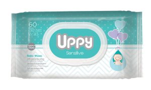 Diaper Dash - UPPY Sensitive Baby Wipes – Ideal for Diaper Bag and Traveling. Made With Purified Water. Pleasant Shea Butter Scent. Soft Cloth. Hypoallergenic. Fresh and Clean. Disp Pk 72 ct.