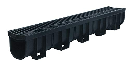 (US TRENCH DRAIN, 83300 - 3.33 ft Regular Trench Drain - Black Polymer, Heel Friendly Grate - For Drainage Systems, Driveway, Basement, Pools, etc.)
