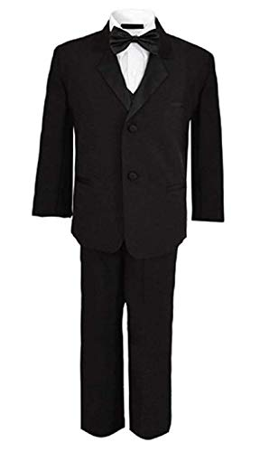 (Rafael Boys Tuxedo with Vest, Shirt, and Bow Tie - Black, Size 6)