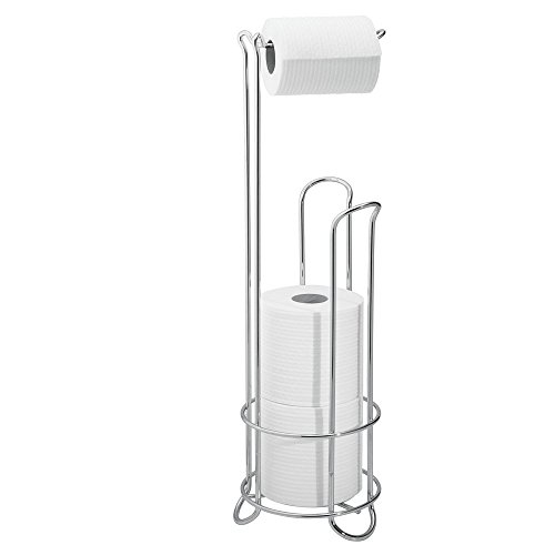 InterDesign Classico Metal Toilet Tissue Roll Reserve Bathroom, Compact Organizer, Holds 4 Paper, Chrome