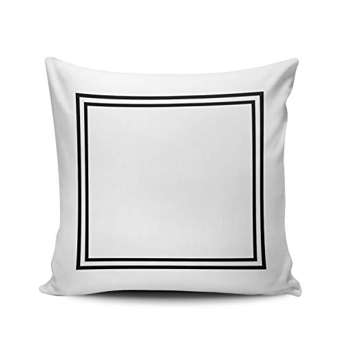 WULIHUA Decorative Throw Pillow Covers Classic Black and White Monogram? Fine Zipper Pillowcases Throw Pillow Cushion Covers for Sofa Double Sides Printed Square 16x16 Inches