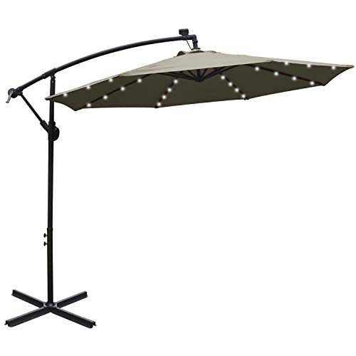 ABCCANOPY 10 FT Solar Powered LED Patio Outdoor Umbrella Hanging Umbrella Cantilever Umbrella Offset Umbrella Easy Open Lift 360 Degree Rotation with 32 LED Lights (Tan)