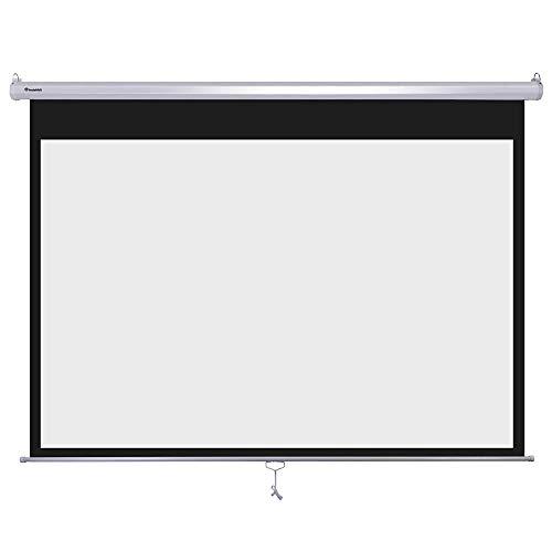 Instahibit 72″ 16:9 Manual Pull Down Projector Screen Self-Locking Home Meeting Room Classroom Restaurant Bar