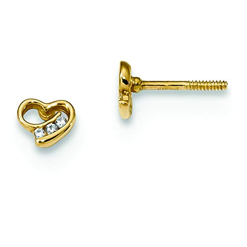 14K Yellow Gold Madi K Childrens 5 MM Pink CZ Heart Screw Back Stud Earrings