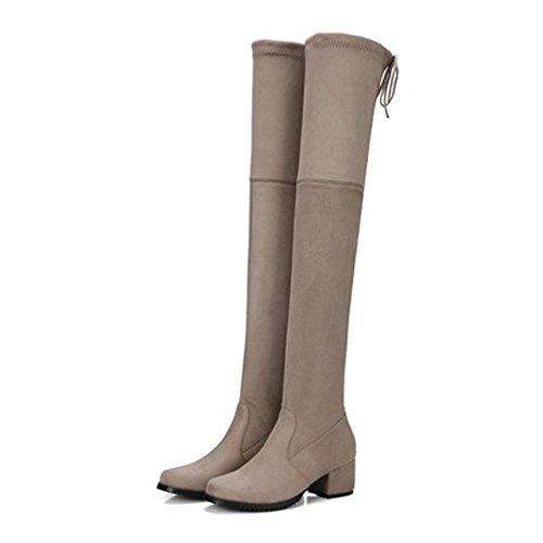 Damen Oberschenkel hoch über dem Knie Kunstleder Wildleder breiten Waden hoch Stretch Lace Up Low Chunky Heel flache Schnürstiefel Khaki