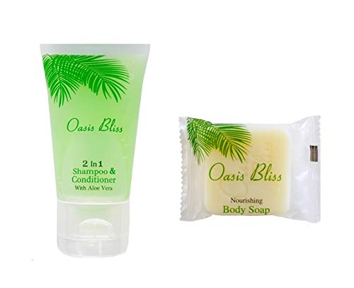 100 pcs Travel Size Toiletries Bulk Set: 50 pcs 2-in-1 Conditioning Shampoo Tubes + 50 pcs Bath Soap Bars
