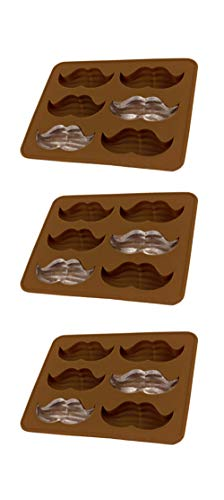 SET OF 3 PACK Mustache Ice Cube Chocolate Soap Tray Mold Party maker (Ships From USA)
