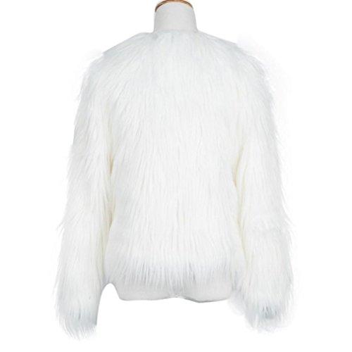 Abrigo Parka Cálida Sintética de KaloryWee de para Mujer para Mujer Blanco Piel Abrigo Invierno Fox dTw8R
