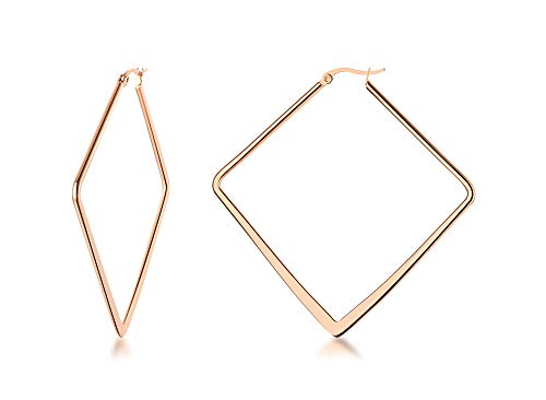 (Stainless Steel Oversize Square-shaped Polished Simple Plain Geometric Flattened Hoop Earrings for Women Girl, Rose Gold Plated)