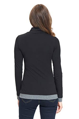 D'allaitement Roulé Tailles Shirt Mailin L Noir Amyline S gris Col 4n5wfFx