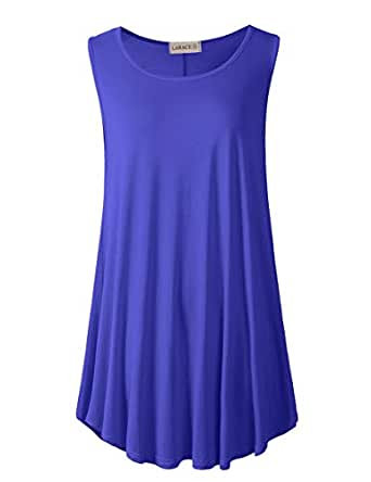 LARACE Women Solid Sleeveless Tunic for Leggings Swing Flare Tank Tops - - 1X