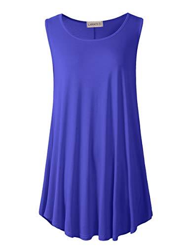 LARACE Women's Solid Flowy Tunic Top Sleeveless Shirt(3X, Blueish Purple)