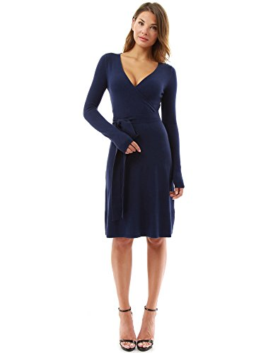 PattyBoutik-Womens-V-Neck-Faux-Wrap-Long-Sleeve-Knit-Dress-Navy-Blue-S