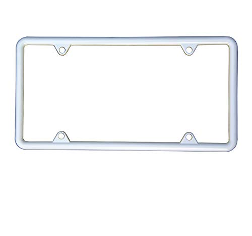 - SIBUXIANG The White Powder Coated License Plate Frame can be Installed in The Front or Rear of Your Car Never Rust Anti-UV with Stainless Steel Screws and Plastics Caps 1p (White)