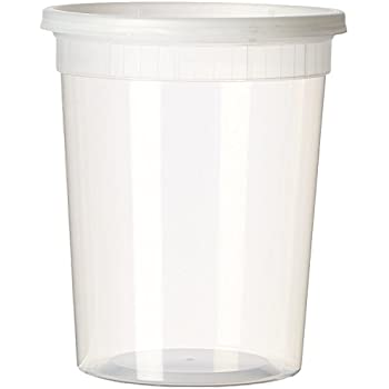 YW Plastic Soup Food Container with Lids (12), 32 oz