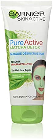 Garnier SkinActive Pure Active - Mascarilla desincrustante de té Matcha para pieles mixtas a grasas, lote de 2 x 100 ml