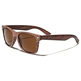 Retro Style Wood Grain Gold Lens Sunglasses 93 Retro style sunglasses with wood grain print on frame and gold lens.