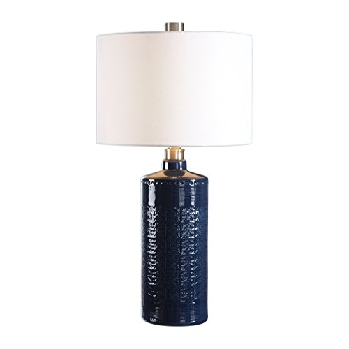 Embossed Pattern Indigo Dark Blue Table Lamp | Damask White Ceramic ()