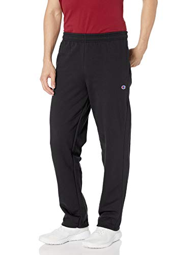 Champion Men's Powerblend Open Bottom Fleece Pant, Black, S