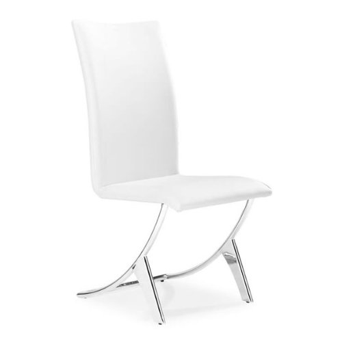 Delfin Contemporary Chairs in White - Set of 2