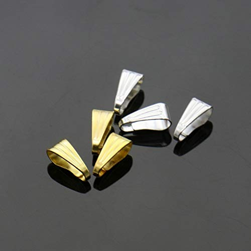 Rugjut 200 PCS DIY Metal Pinch Clip Clasp, Necklace Clasps Pendant Charms Clasps (Gold ,Silver