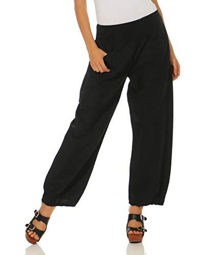 ZARMEXX casual pantaloni di lino da donna pantaloni semplici Nero
