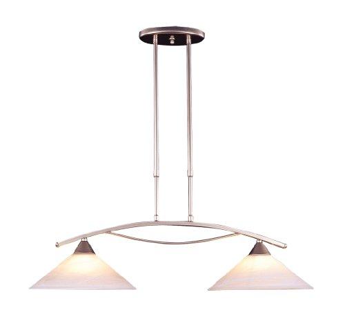 (Elk 6501/2 2-Light Island Light in Satin Nickel and Tea Swirl Glass)