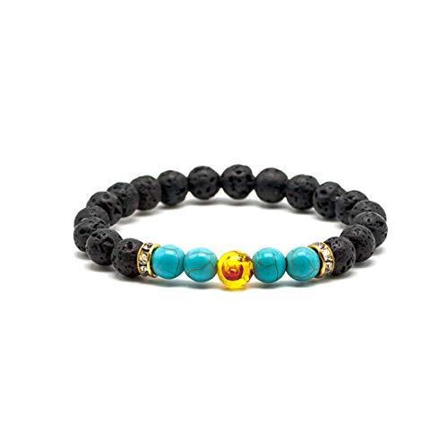 LNKRE JEWELRY Handmade Lava Genuine Turquoise Stone Anxiety Essential Oil Diffuser Prayer Yoga Bracelet for Women