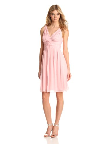 Donna Morgan Women's Jessie Short Chiffon Dress, Blush, 0