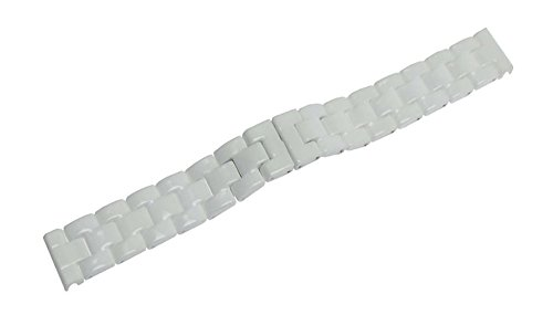 RECHERE Ceramic Bracelet Watch Band Strap Deployment Invisible Double Folding Clasp Color White (17mm)
