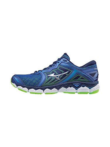 Mizuno Men's Wave Sky Running Shoes, surf The Web-Silver, 10.5 D US