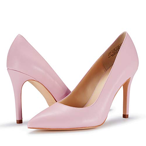 JENN ARDOR Stiletto High Heel Shoes for Women: Pointed, Closed Toe Classic Slip On Pearl Dress Pumps (10 B(M) US, Pink)