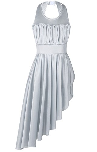 Dance Leotard Halter (FEESHOW Women Mesh Halter Leotard High-Low Dance Dress Lyrical Modern Contemporary Dance Costume Gray Large)